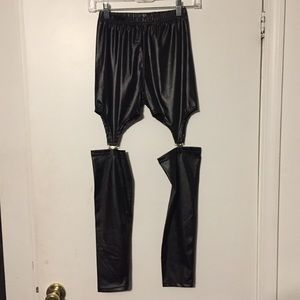 Black Faux Leather Garter Leggings Size S NWOT